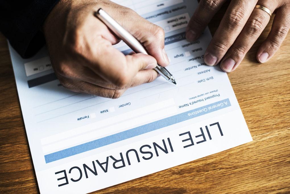 Closeup of life insurance form